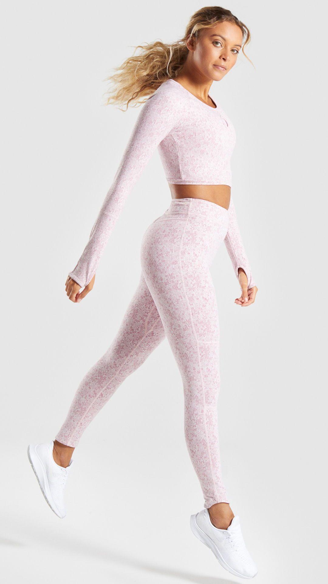 823422f67f4c9c The Fleur Texture Long Sleeve Crop Top, Dusky Pink. Tough for training,  delicate
