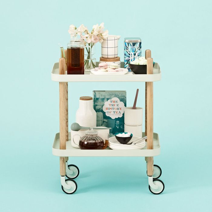 Traveling tea for two... Or ten. (Block Table Cart in Mint Green, A+R.)