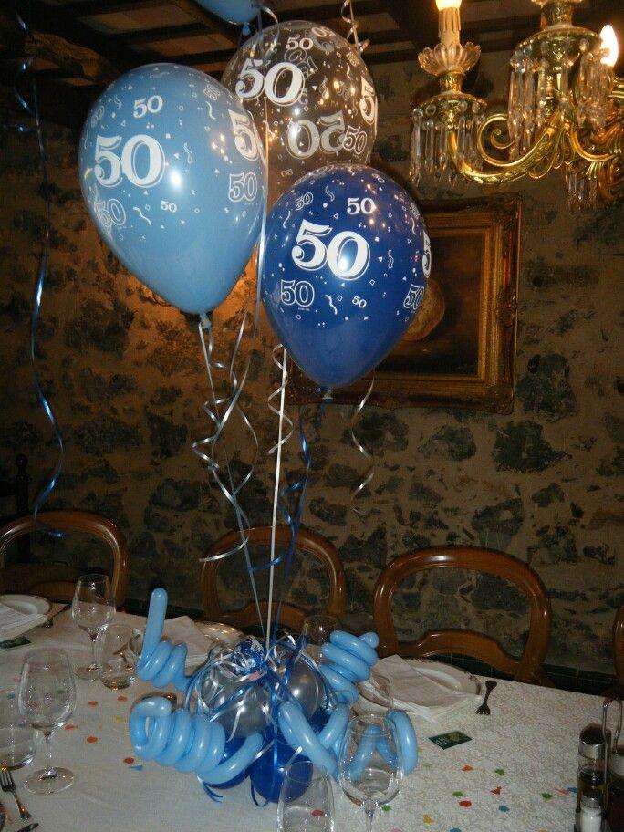 Centro de mesa 50 a os decoracion pinterest 50th - Decoracion con globos 50 anos ...