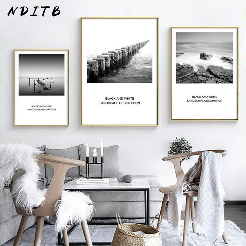 Pas cher NDITB Nordique Décoration Mer Plage Dock Toile Art Affiche
