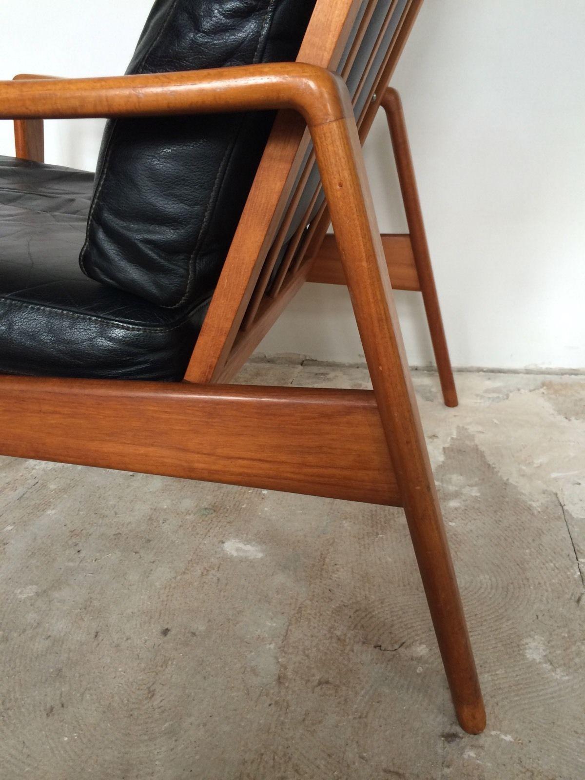 Arne Wahl Iversen Komfort Lounge Chair Teak 60s Danish Design Leder