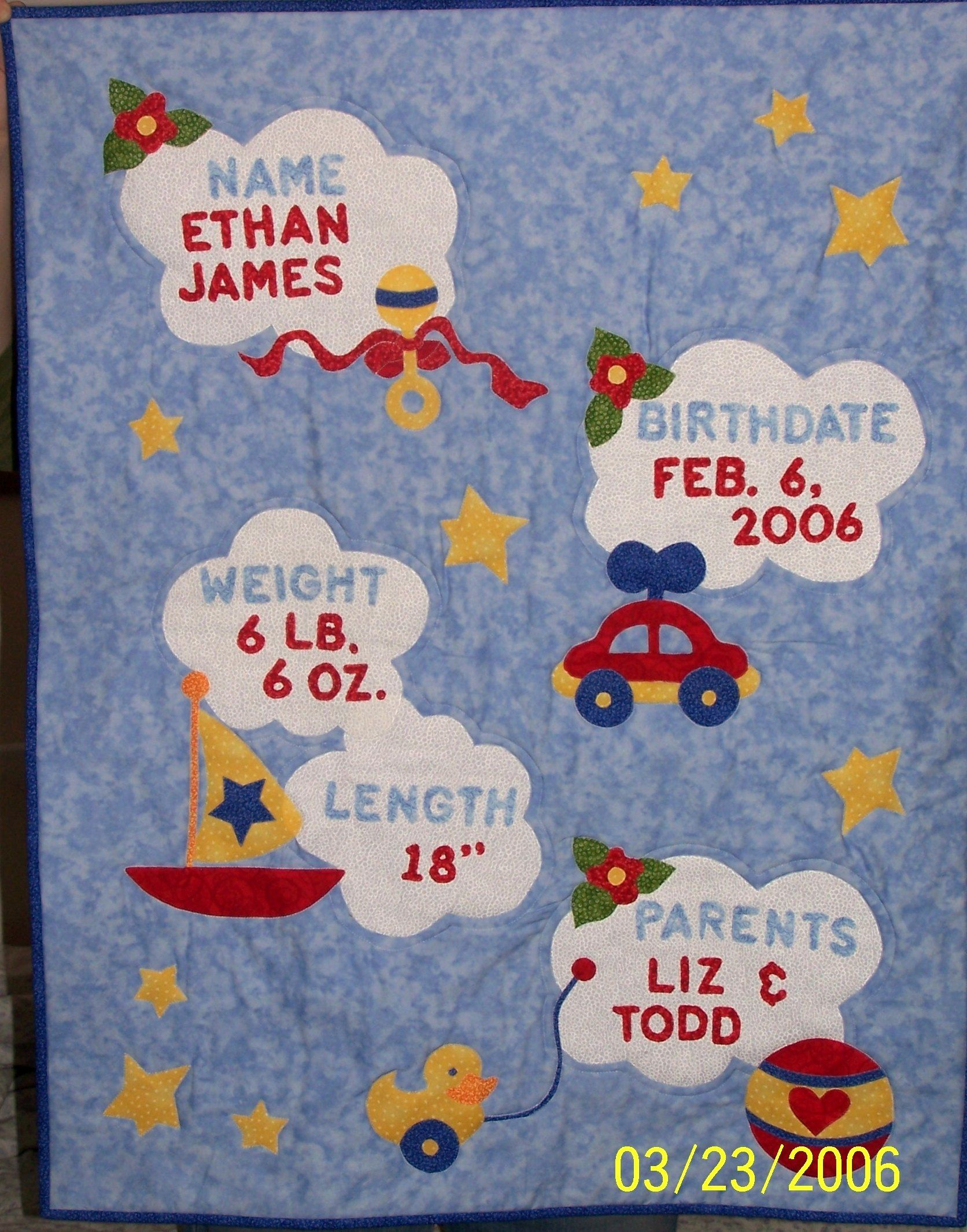 Baby Birth Record Quilt made for Ethan.