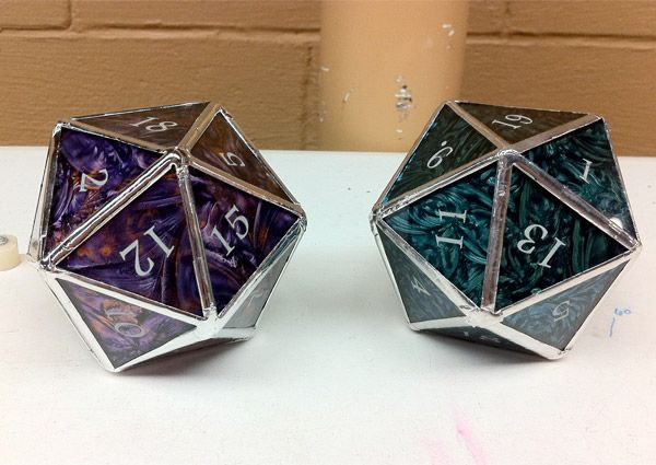 Stained Glass D20 Dice Lose 100 Hp If You Break Em Making