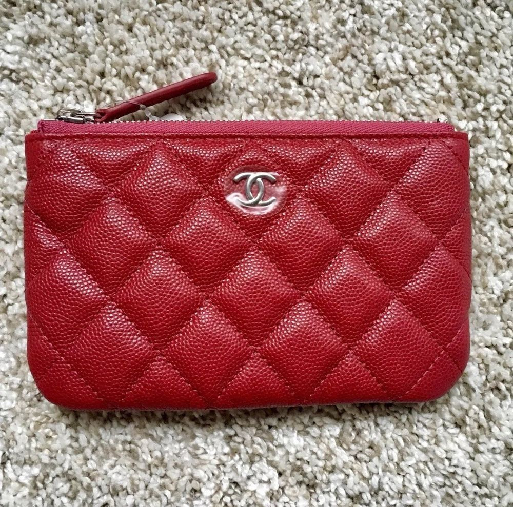 7586d267953f New 2018 CHANEL CC 18B Dark Pink Caviar Mini O-Case Cosmetic Pouch Like 17B  Red