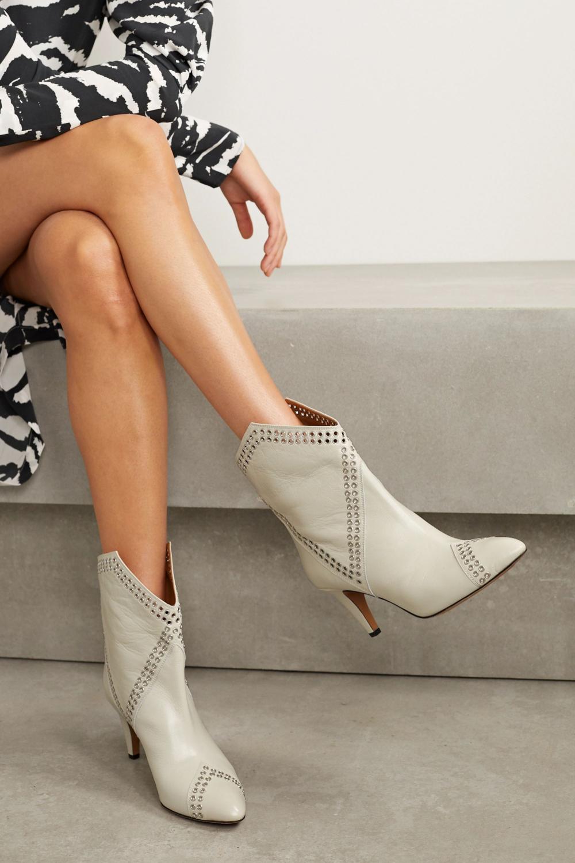 White Demka Eyelet Embellished Textured Leather Ankle Boots Isabel Marant Leather Ankle Boots Boots Isabel Marant Boots