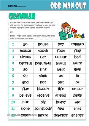 Odd One Out -GRAMMAR | Shield Language EXERCISES | Pinterest