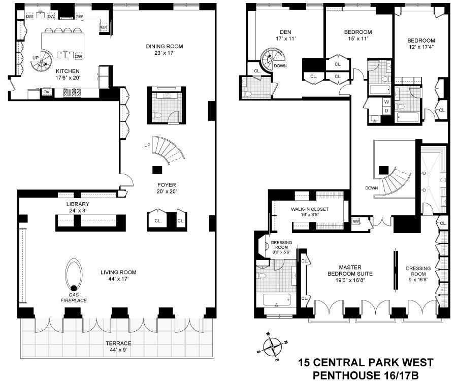 Corcoran, 15 Central Park West, Apt. PH16/17B, Upper West