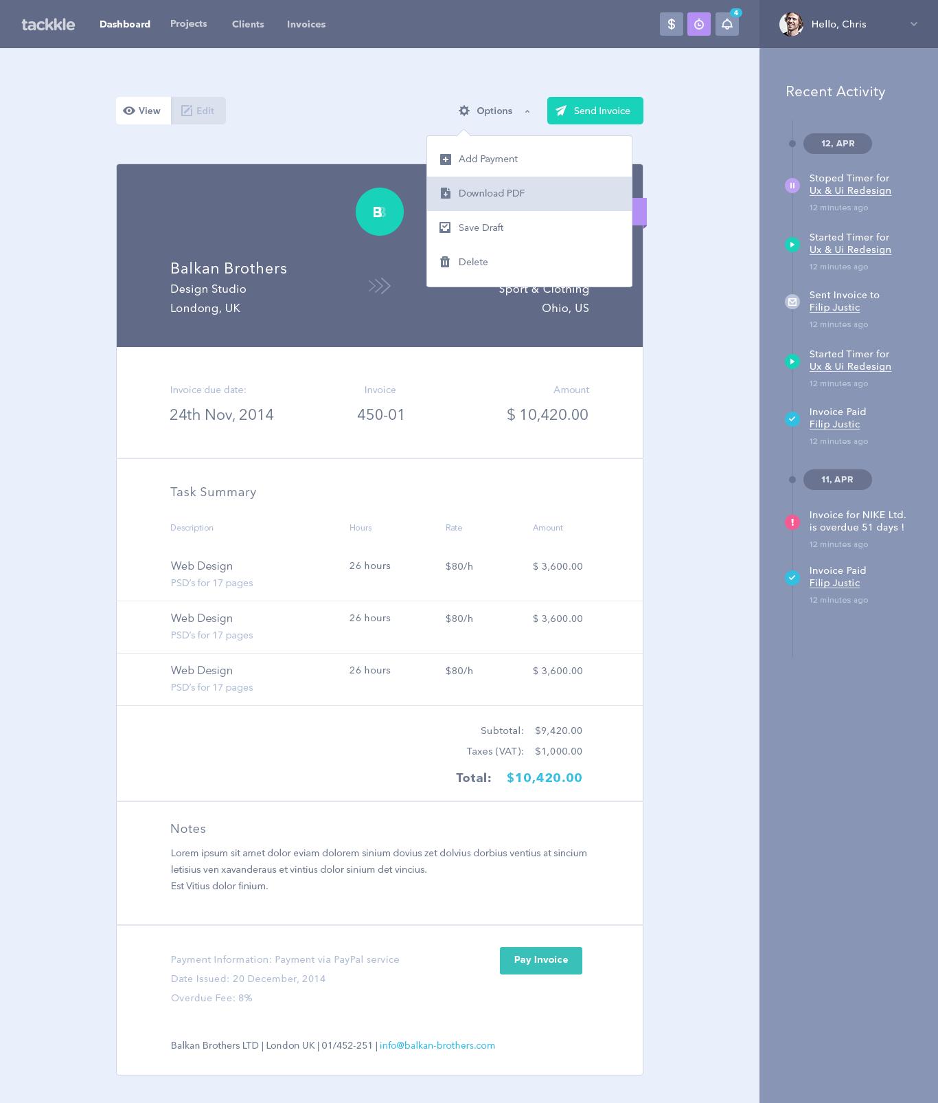 Invoice UI
