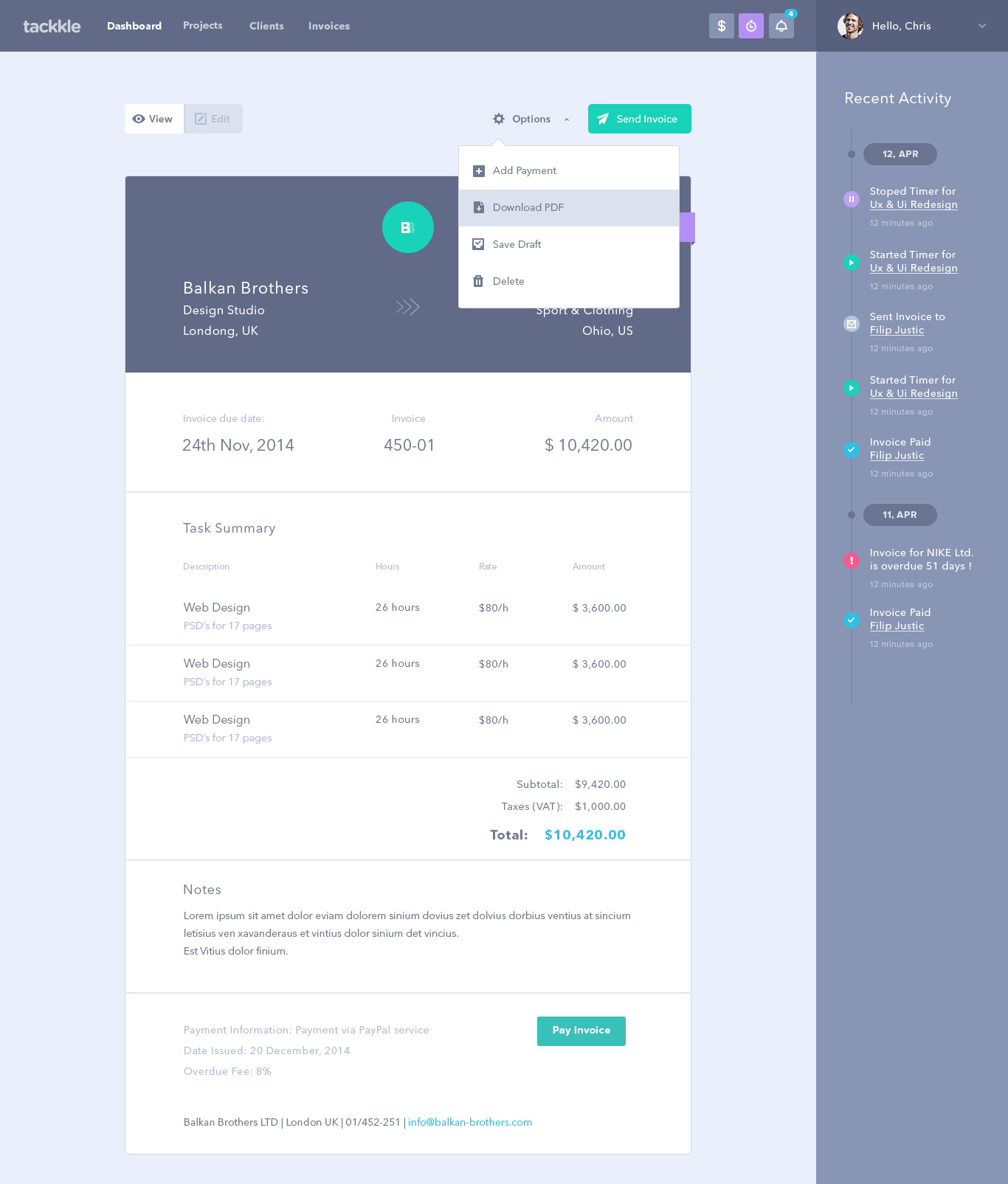 Invoice Templates Drafts App Design Dashboard Design