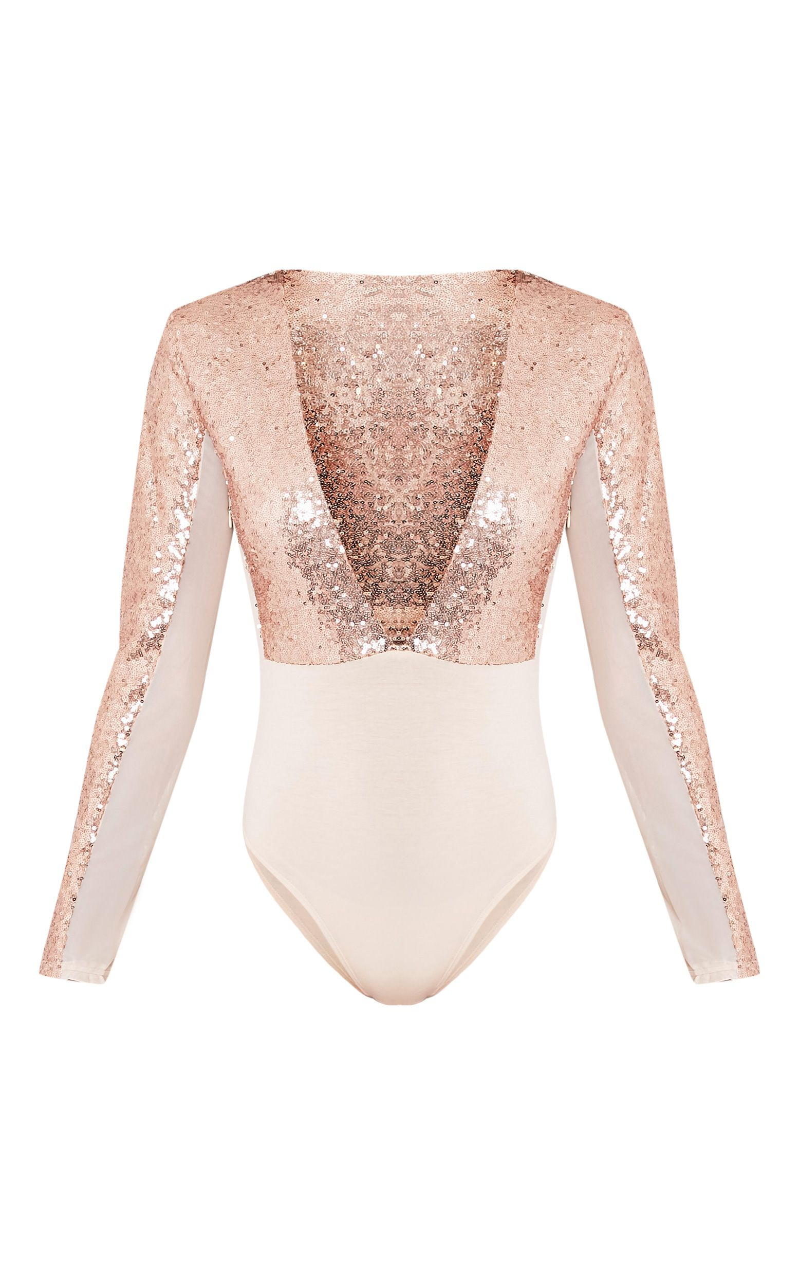 dfa2901348f5 Rose Gold Sequin Plunge Mesh Thong BodysuitLook fierce this party season in  this bodysuit! Featur.