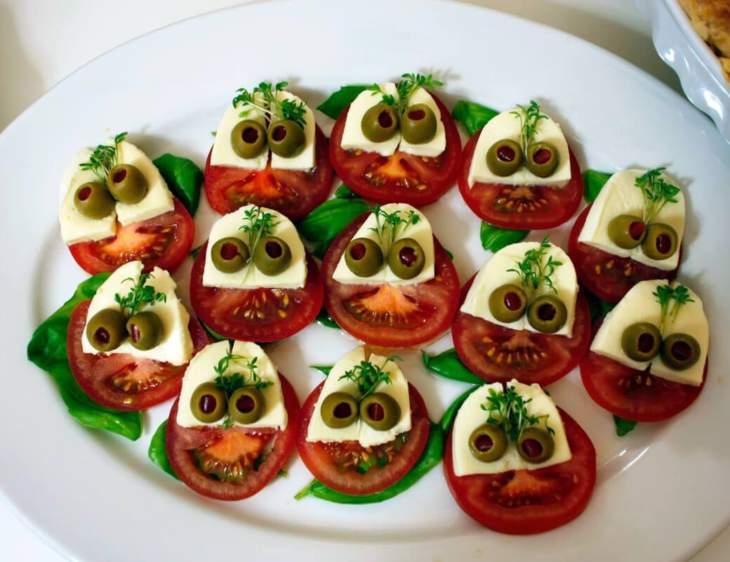 Halloween Buffet -  halloween-recipe-monster-caprese-salad more  -