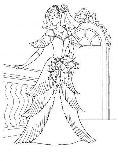 Princess In Her Wedding Dress Wedding Coloring Pages Princess Coloring Pages Barbie Coloring Pages
