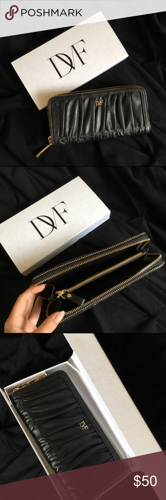Diane von Furstenberg Anna Black Ruched Clutch Black leather clutch with gold metal detail at zip. Barely used. Wallet/checkbook size. Has card slots and a zippered pouch inside with DVF monogram fabric. Also has authenticity tag inside. Diane von Furstenberg Bags Clutches & Wristlets