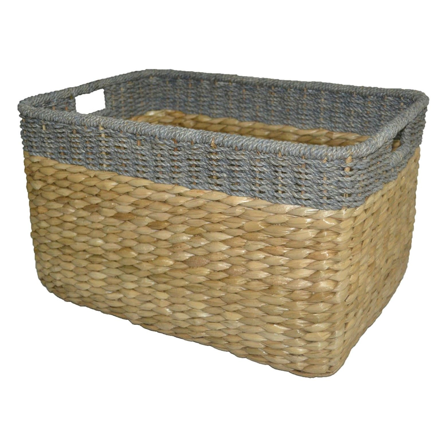 Seagrass Extra Large Rectangle Storage Basket Gray Trim ...