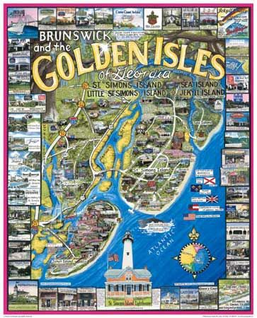 Map Of Georgia Barrier Islands.Map Of The Golden Isles A String Of Barrier Islands Off The