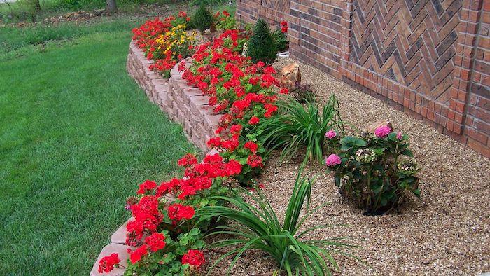 Wie Gestalte Ich Meinen Garten, Hochbeet Mit Steinen Und Roten Blumen, Wand  Mit Ziegeln