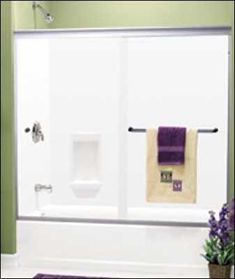 Cw Shower Enclosures 4500 Frameless Bi Pass Enclosure With 3 8 Thick Heavy Glass All Edges High Luster Fla Contractors Wardrobe Shower Enclosure Towel Bar