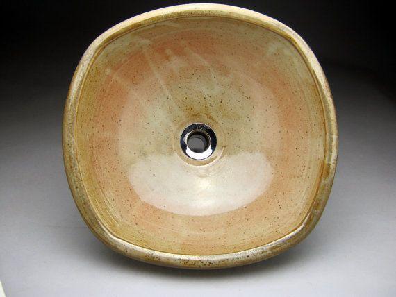 """Hecha a mano Rectangular cerámica recipiente fregadero - 16""""- 17"""" de ancho x 13""""- 14"""" x profundo 6"""" alto - hecho por encargo."""