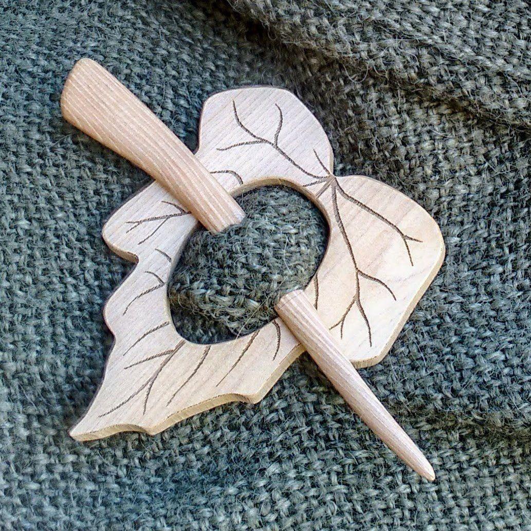 Shawl Pin Leaf Design, Wooden Brooch for Shawls, Wraps