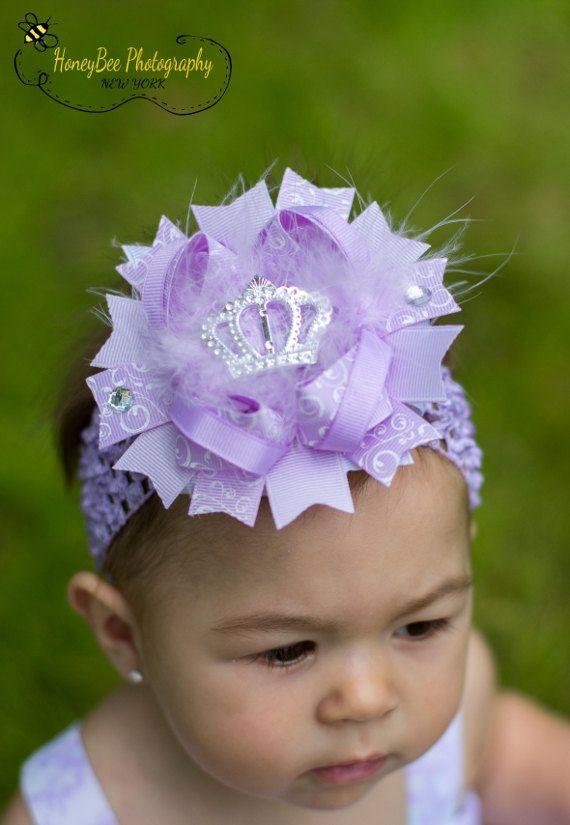 Hairbow.headbands infant girl Baby headband Baby lavender bow headband Lavender flower headband.Girl lavender headband Flower headband