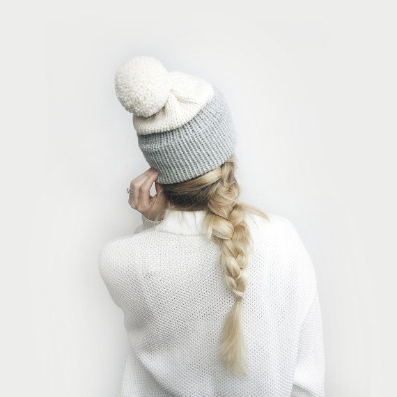Slouchy Beanie Hat // Two Tone Knit with Pom Pom // Gray + Ivory ...