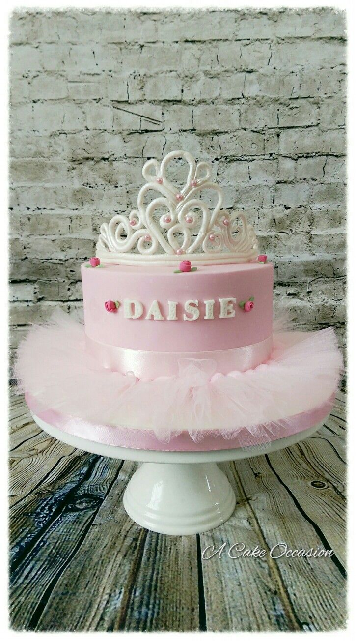 Brilliant Pretty Pink Tiara Cake With Tutu And Cute Sugar Roses With Images Personalised Birthday Cards Akebfashionlily Jamesorg