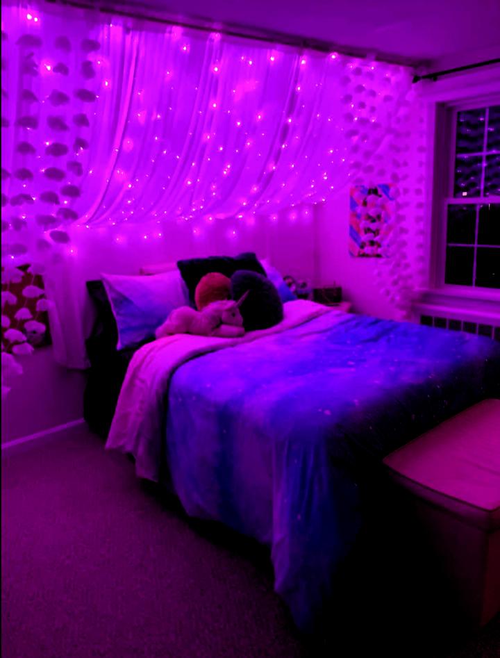 Purple Led Curtain Lights Purpledormrooms Tapestrygirls Com Aesthetic Bedroom Ideas Led Lights Bedroom Te Room Ideas Bedroom Neon Bedroom Redecorate Bedroom