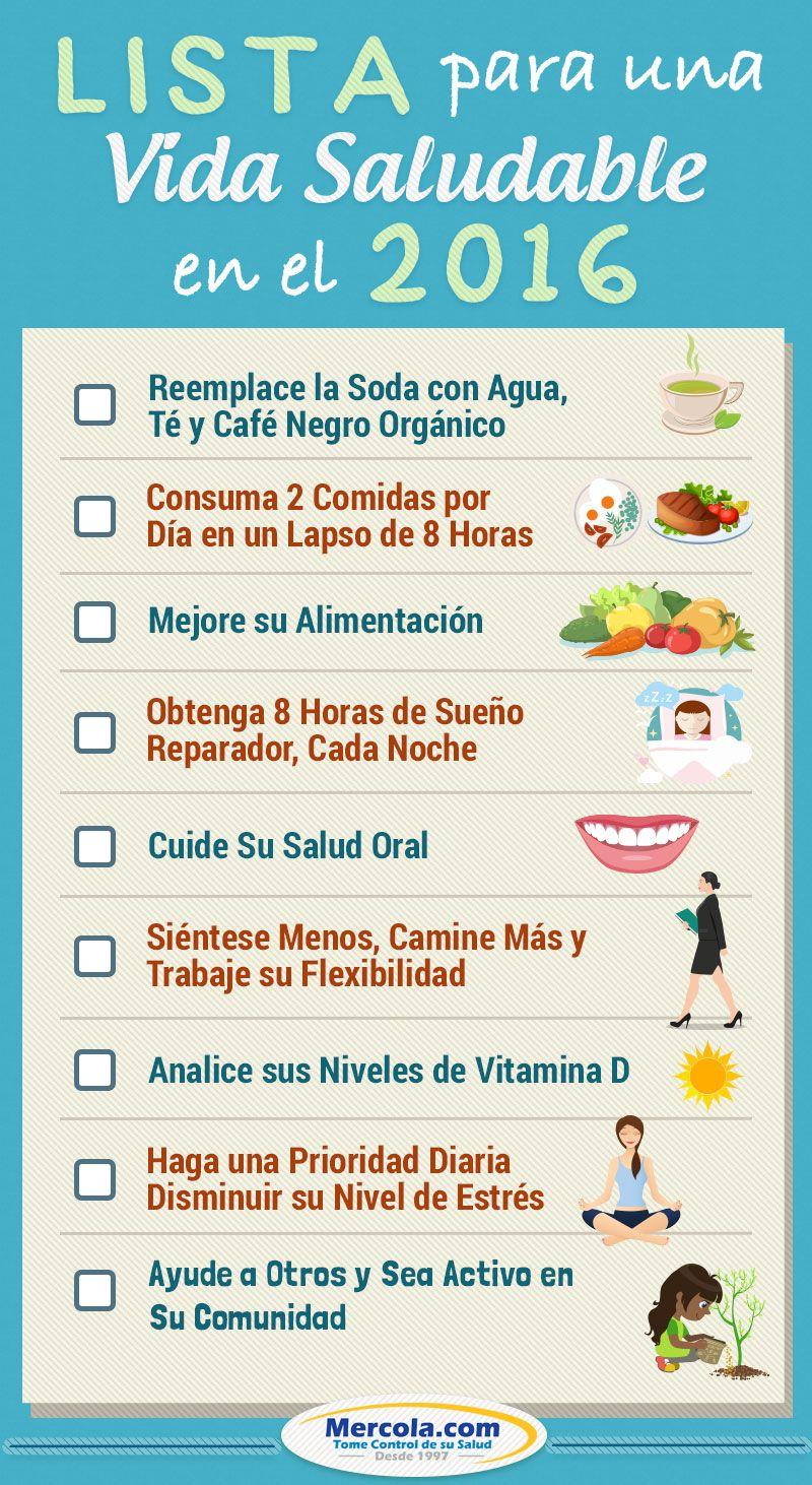 Your Healthy Checklist For 2016 Spanish Jpg 800 1462 Productos Para La Salud Salud Vida Saludable