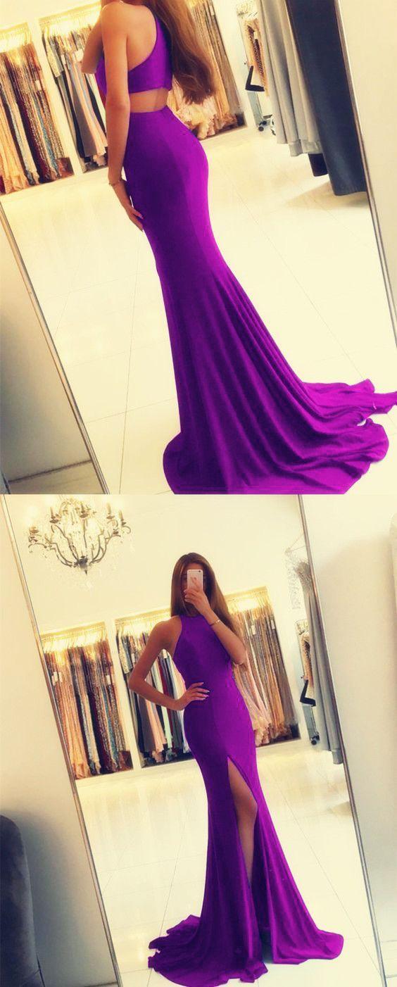 Sexy leg slit long purple mermaid prom dresses open back