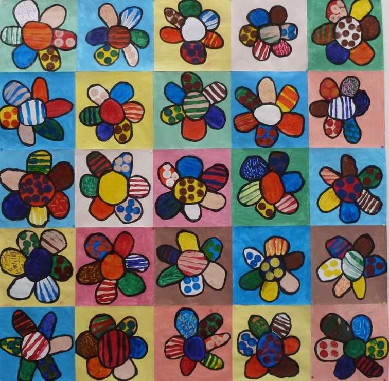A la d couverte de romero britto les cahiers de jos phine jardinerie art arts visuels - Coloriage fleur britto ...