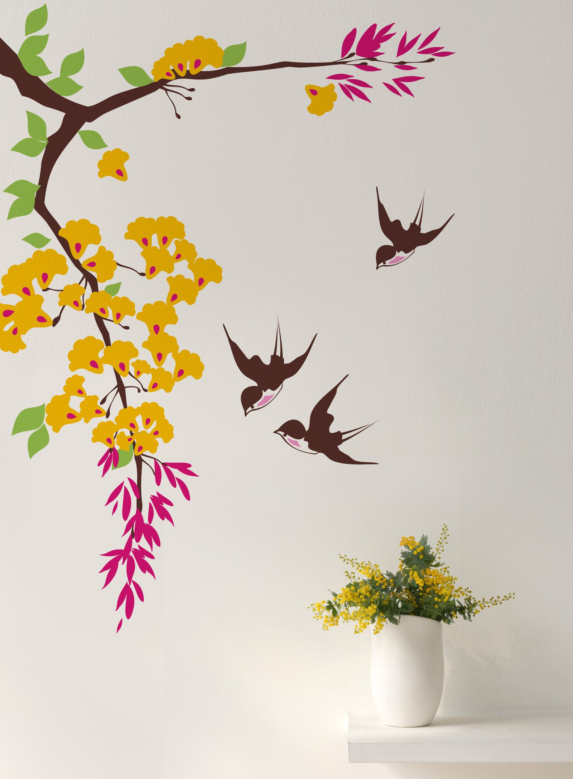 Blossom Branch With Flying Swallow Floral Tree Branch Flowers Branch Decal Https Www Etsy Com Listing 504 Tree Wall Painting Wall Painting Diy Wall Painting