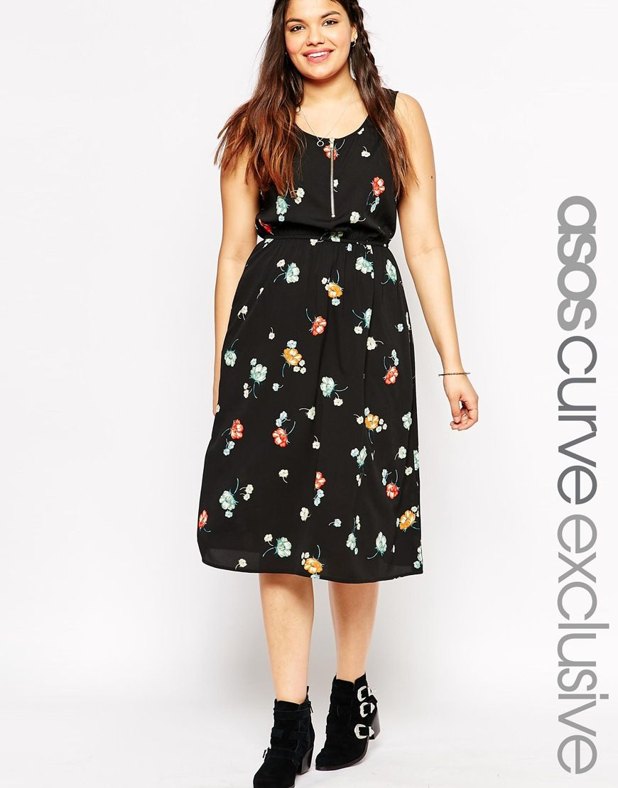 ASOS CURVE Floral Dress With Zip Front