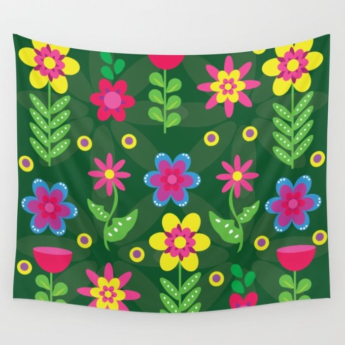 Colorful Flowers Wall Tapestry