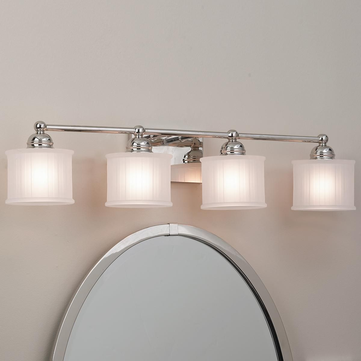 Fluted Drum Shade Bath Strip 4 Light Drum Shade Bath Light