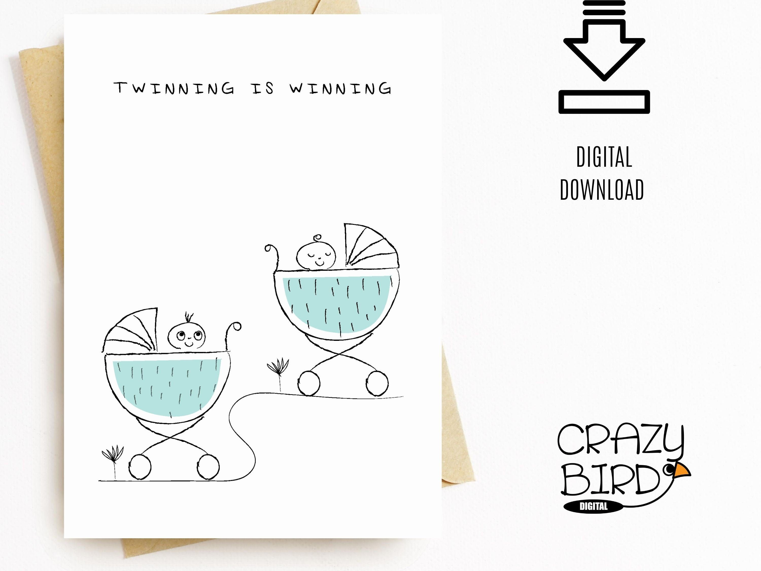Twin baby boy and girl card-New baby twins card-Twins congratulations card-Welcome twins card-Baby shower twins card-Printable-Downloadable