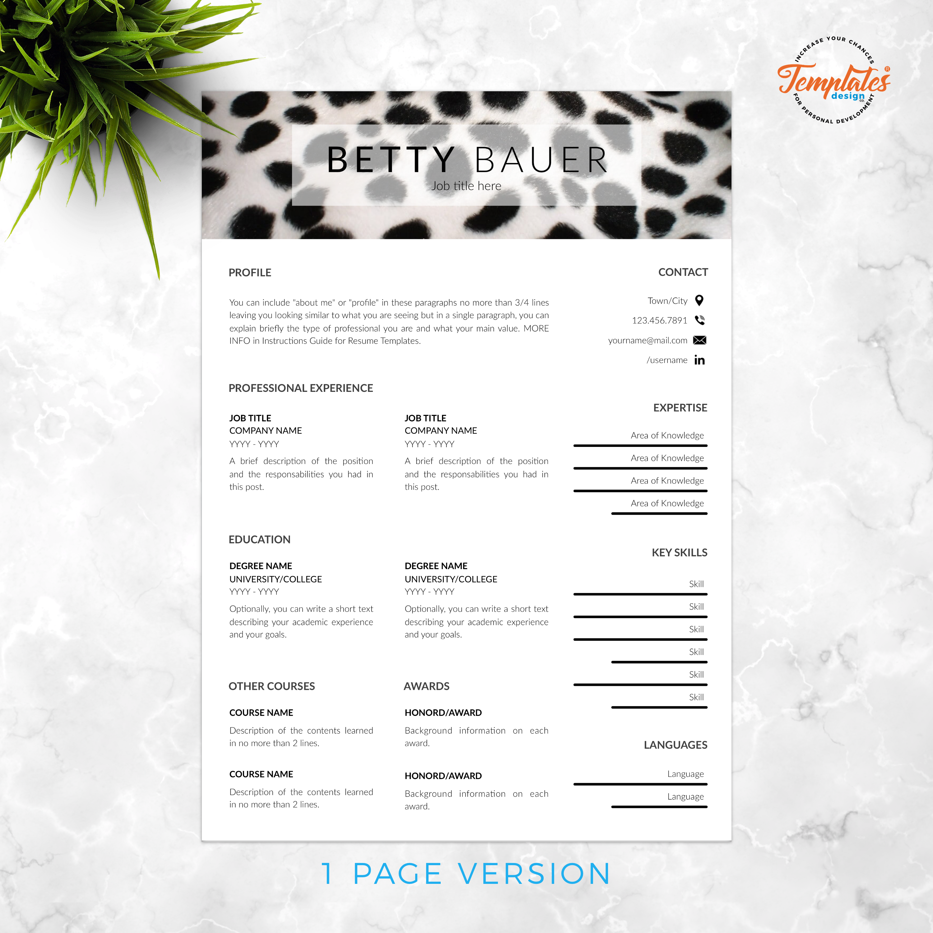 Resume Template For Ms Word Docx Pages Pages With Us Letter Size Files And A4 Size Files 1 2 And 3 Page Cv Template Resume Templates Resume Template