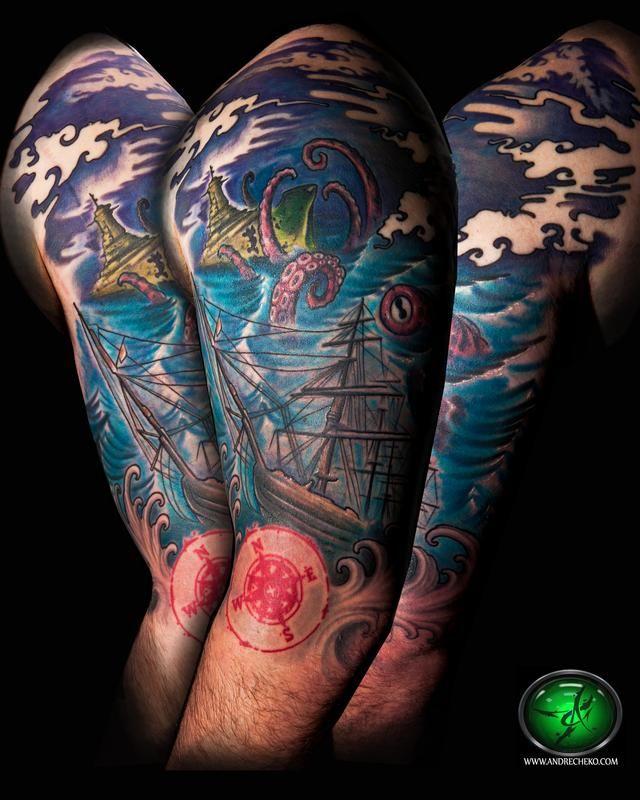 nautical tattoos off the map tattoo tattoos andre cheko nautical sea creature. Black Bedroom Furniture Sets. Home Design Ideas
