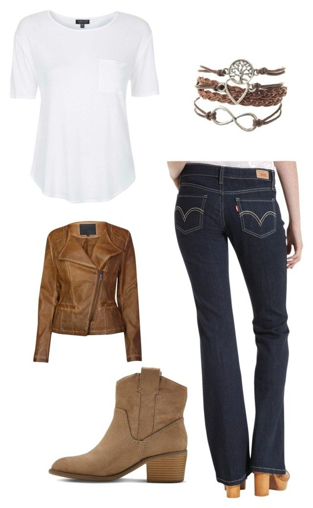 """Earth tones"" by jasmine-whittier on Polyvore featuring Topshop, Levi's, Lavand. and Merona"