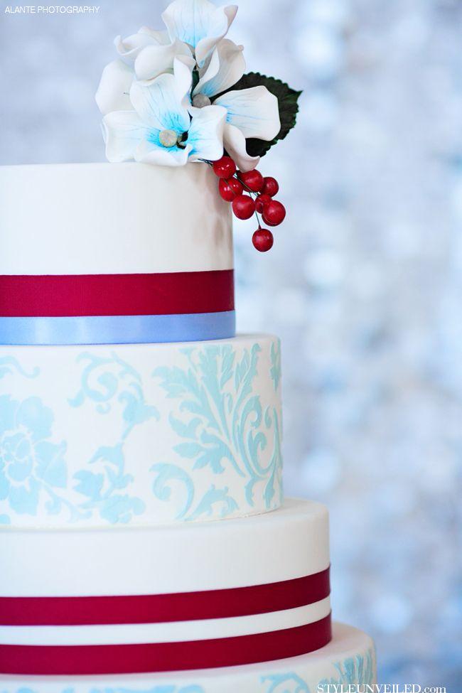 Red, White, and Blue Wedding Cake by Honey Crumb Cake Studio / Alante Photography / via StyleUnveiled.com