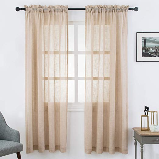 Amazon Com Visiontex Sheer Curtains Faux Linen Rod Pocket Window