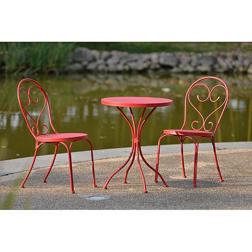 Mainstays 3 Piece Small Space Scroll Outdoor Bistro Set, Red, Seats 2 $98