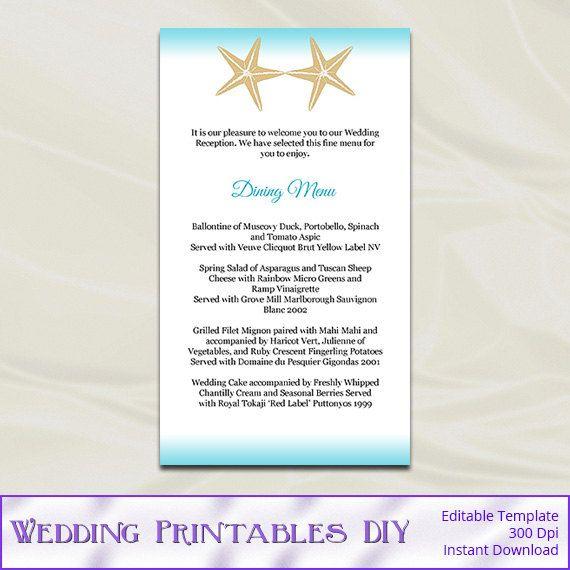 Beach Wedding Reception Food Ideas: Diy Starfish Beach Wedding Menu Cards By