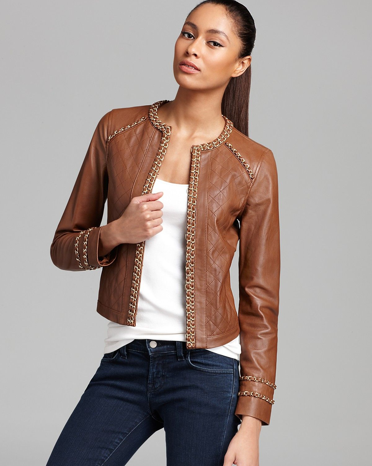 Michael Michael Kors Leather Jacket With Chain Women Jackets Bloomingdale S Leather Jacket Womens Jackets Casual Coats Jackets Women [ 1500 x 1200 Pixel ]