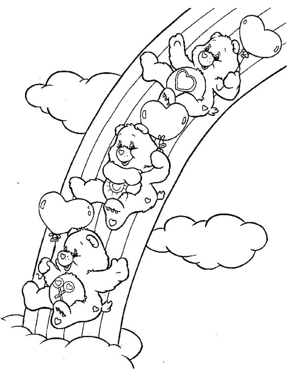 Rainbow Care Bears Playing Slides Together Coloring Page Download Print Online Coloring Pages For Fr In 2020 Bear Coloring Pages Moon Coloring Pages Coloring Pages