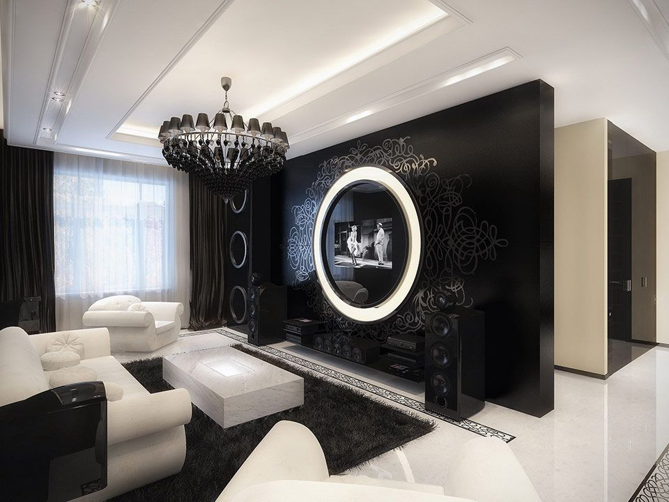 Black and White Room Design Ideas With Modern Furniture White