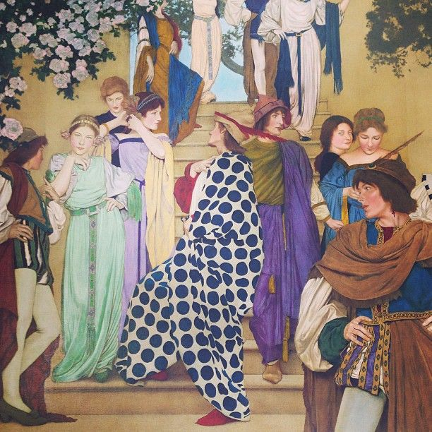 """Maxfield Parrish. This was a painting 4' x 10' big. oil on wood panel. commissioned for the cover of Ladies home journal, prob 11"""" x 14"""". Check out the chick in the green...personality, style, charisma. This guy was a genius.:"""