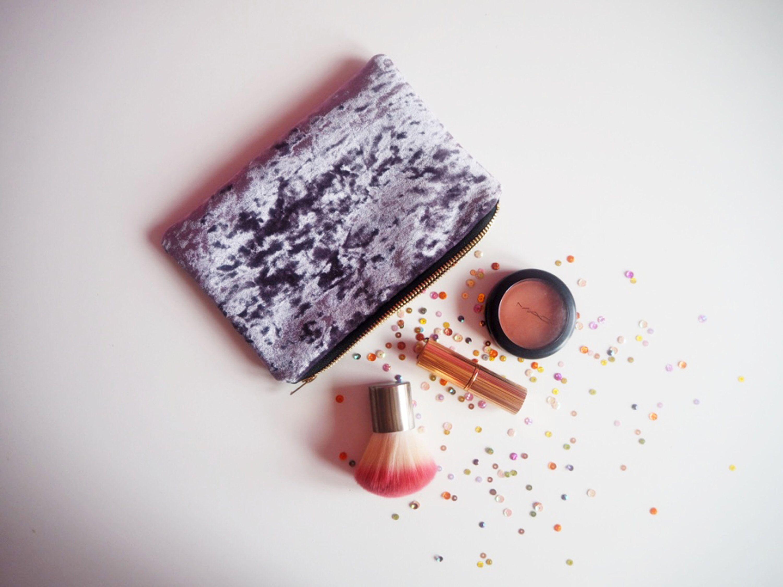 Grey Velvet Makeup Bag, Grey Velvet Purse, Crushed Velvet