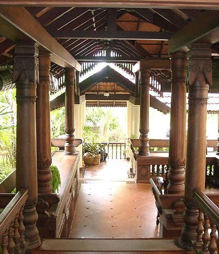 Pergola Design Kerala: Verandah Located At The Front Of A Traditional Kerala