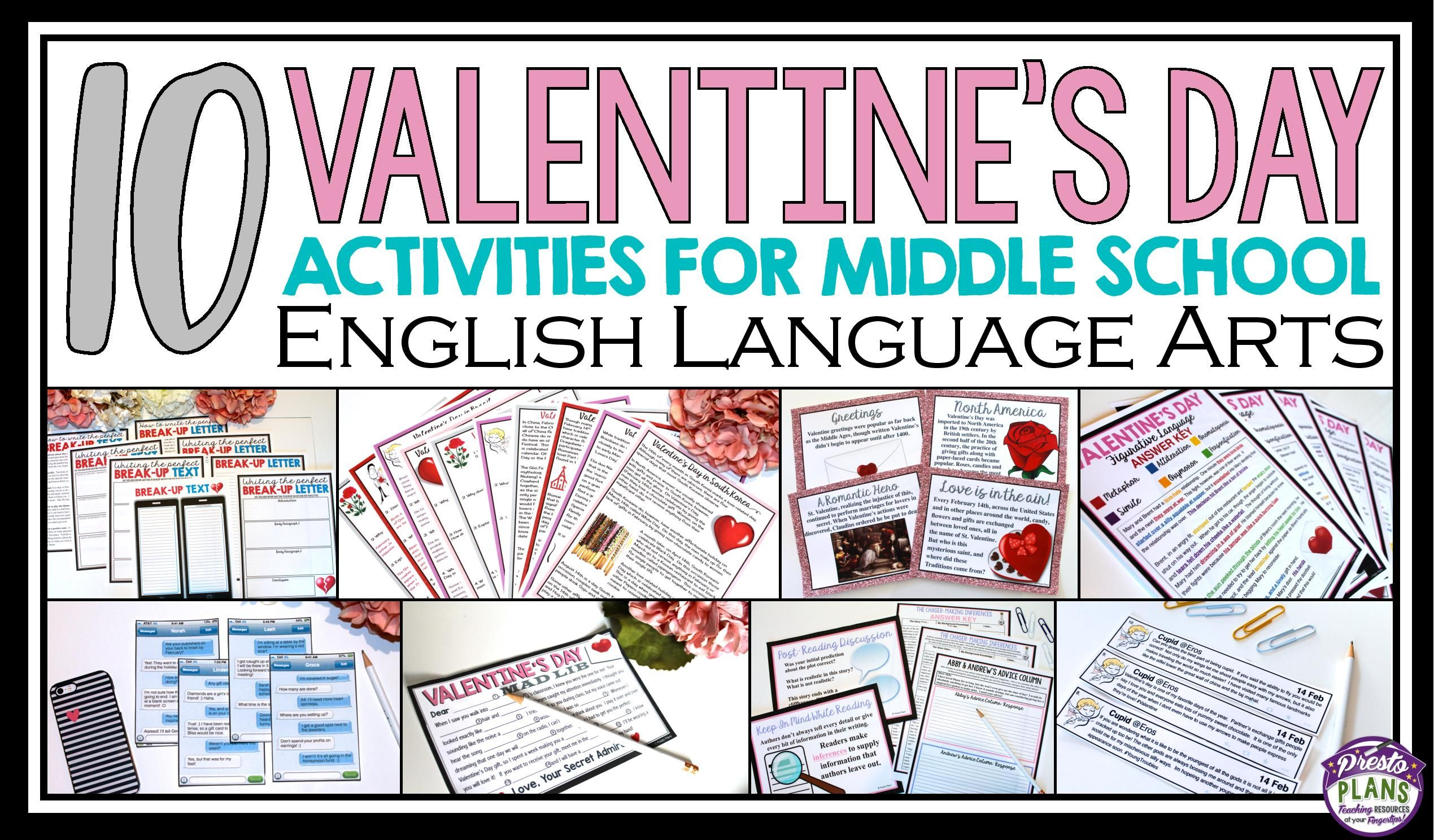 Bring Valentine S Day Into Your Middle School English Language Arts Classroom With Middle School Activities Valentines Middle School Middle School Lesson Plans