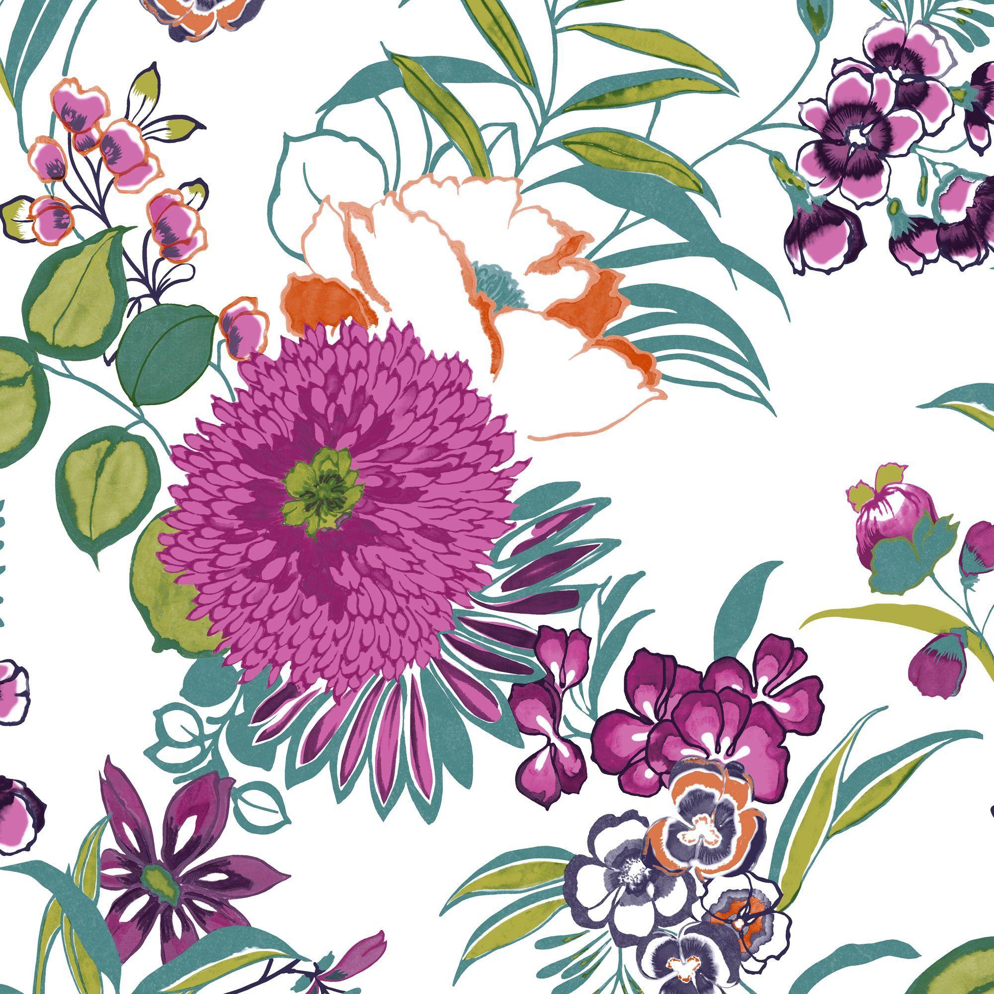 Best 7 00 Colours Cocktail Floral Wallpaper Departments Diy At B Q Wall Wallpaper 400 x 300